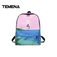 Temena Новый Холст животных Вышивка рюкзак 3D пейзаж печать рюкзак Школьные сумки forteenager Обувь для девочек рюкзак MochilaABP353