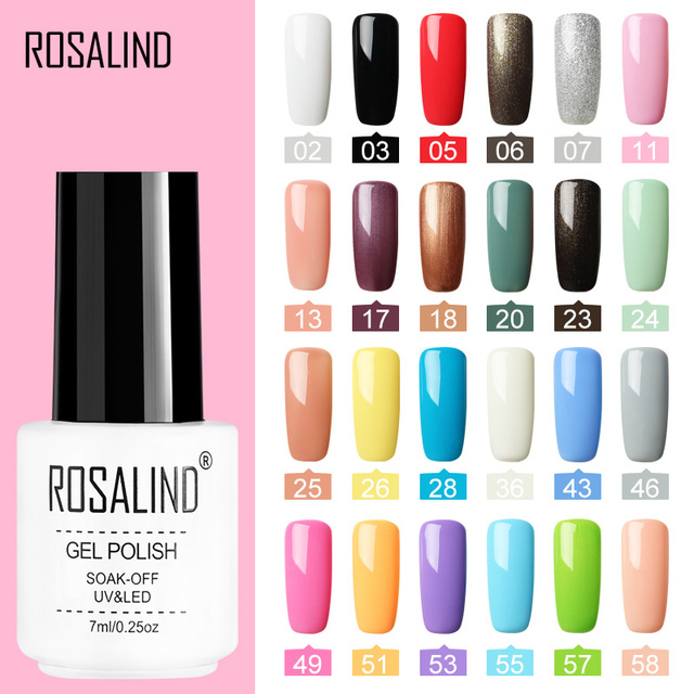 ROSALIND Nail Polish Gel polish uv Color Vernis Semi Permanent Gel Varnish Manicure Primer Top Coat Glitter Hybrid Nail Art