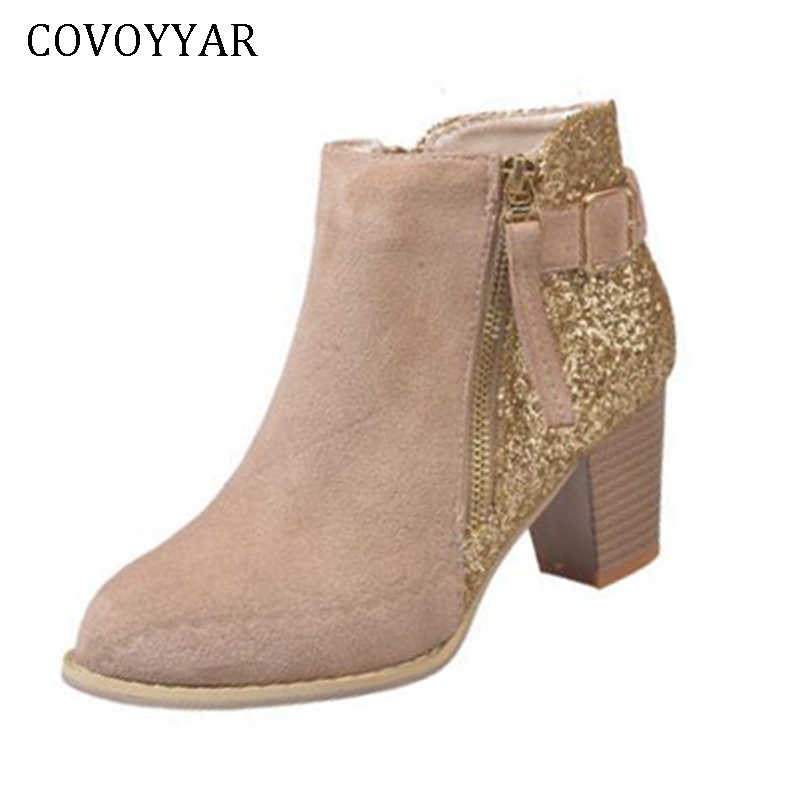 COVOYYAR 2019 Women Boots Bling Side Zip Lady Ankle Boots Block Heel Booties  Flock Mixed Color fc139da4b75d