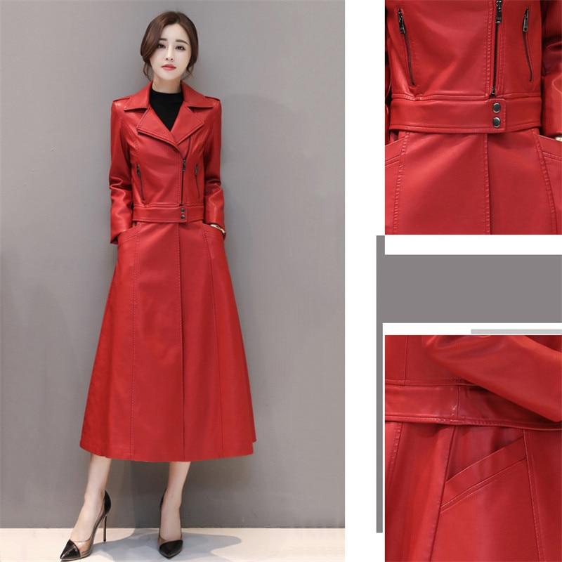 Slim Grande Black Manteau En Veste 2018 Dt0483 Long Coupe Printemps red Façons Cuir Femme green New Taille Deux vent De Automne Porter Femmes Faux 01dd7Hqx