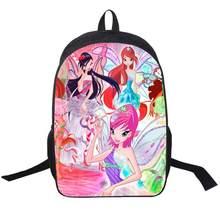 f46452ace01b Winx Club бабочка принцесса школьные сумки сумка Mochila 3D Мультфильм  Ортопедические Детские Рюкзак для девочек-