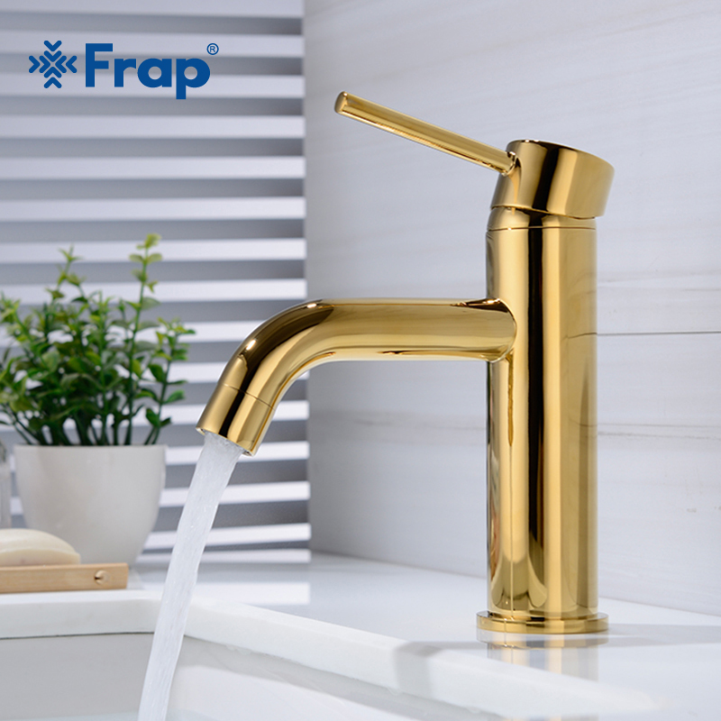 Frap Single Handle Bathroom Basin Faucets Cold & Hot Mixer Basin Sink Tap Gold Water Kitchen Faucet Bathroom Accessories Y10160
