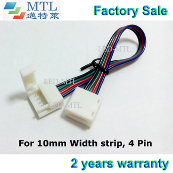 RGB connector for IP65 5050 LED strip to strip, 10mm width PCB 4 pin, 15cm long wire,100pcs/lot, Factory Wholesale