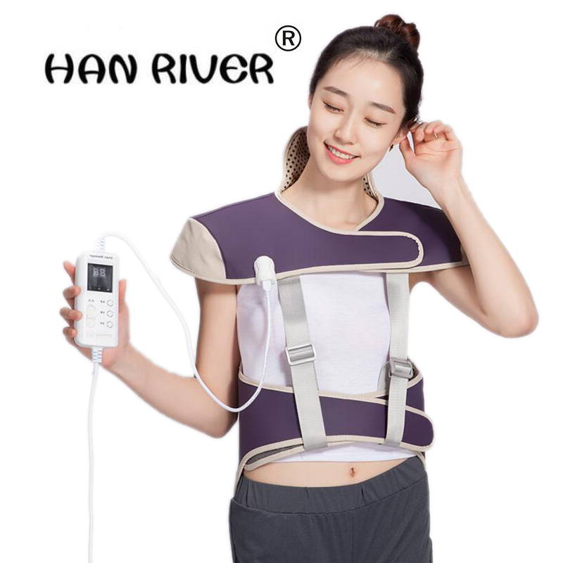 Far infrared hot compress Electric Heating Vest Back Support Shoulder Pads Vest Heated Shawl Suitable For Neck Back Pain Relief floral slash neck vest