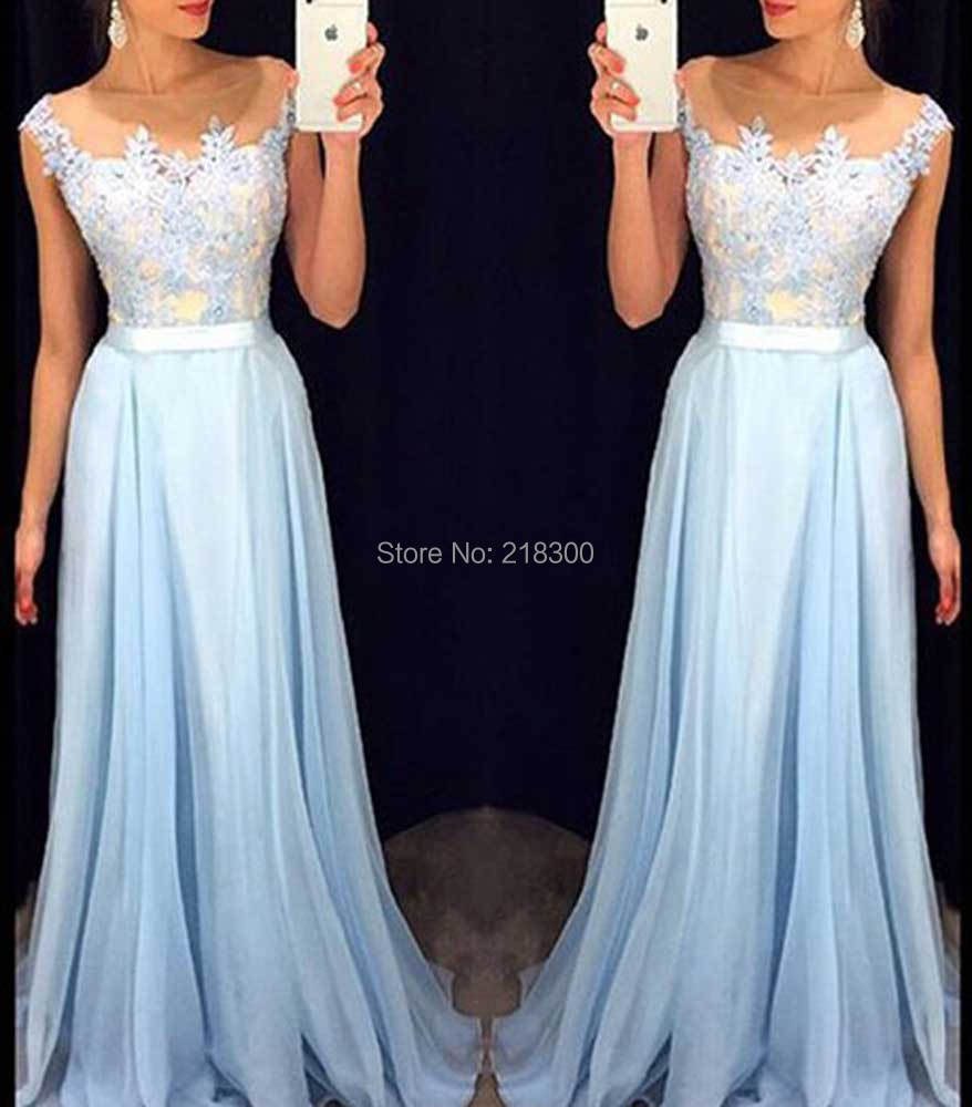 ad2fe8c8ddf Ice blue lace prom dresses cap sleeves pageant dresses long formal dress