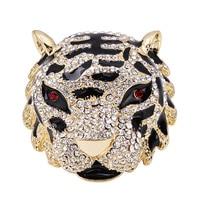 ОБН Старинные Большой Черный Эмаль Королевский Тигр Брошь Горный Хрусталь Мужчины Значки Нагрудные Украшения