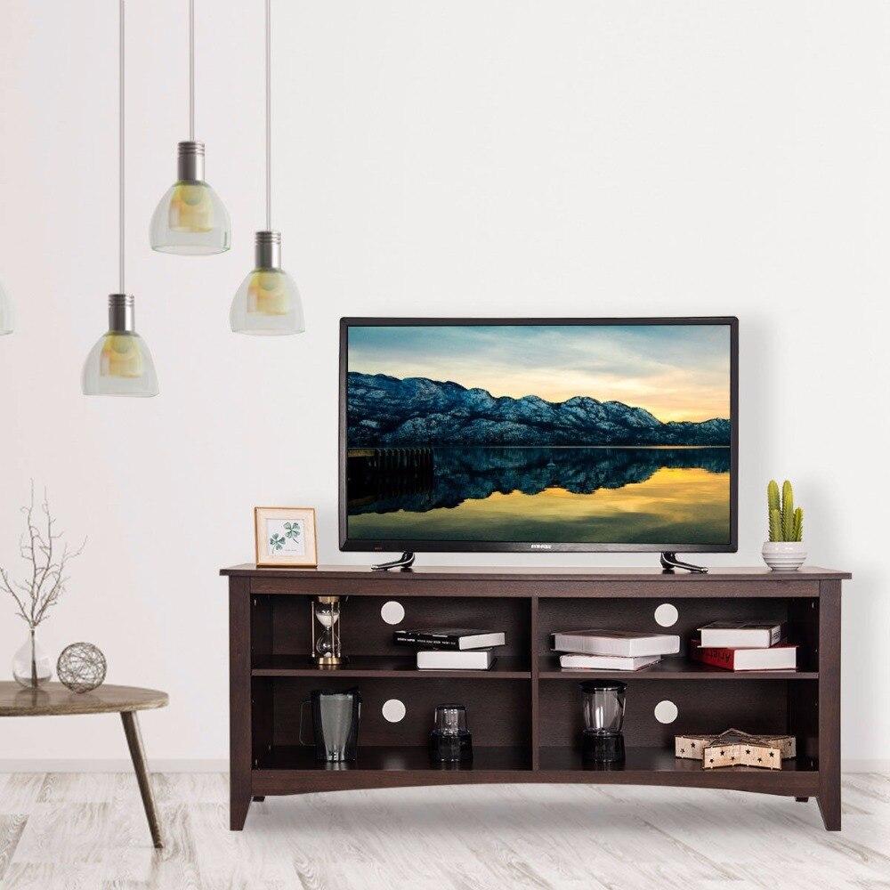 Goplus 58 ТВ Стенд развлечения медиа центр консоли дерево хранения мебель эспрессо мебель для дома HW60321