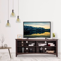 Goplus 58 TV Stand Entertainment Media Center Console Wood Storage Furniture Espresso Home Furniture HW60321