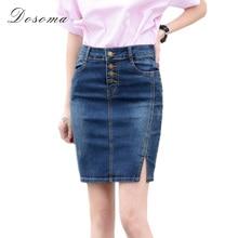 7XL Plus Size Denim Skirt 2017 Elegant Women Slim Mini Denim Skirt Simple Sexy Side Split Slim Jeans Women Skirts Pencil Skirt