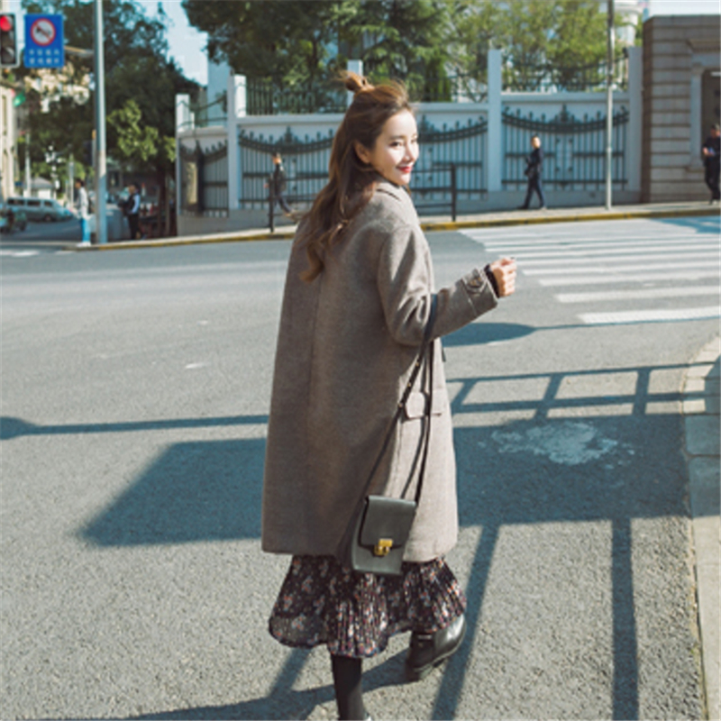 Survêtement down Collar Femelle Mi Femmes O279 Corne Mélanges Bouton Ol Laine Style Automne Hiver Couleur Manteaux long Turn 848Z06q