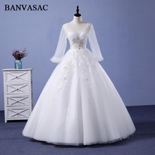 BANVASAC 2018 Real Photos Crystals Ball Gown Wedding Dresses Lace Appliques Long Sleeve Sequined Plus Size Bridal