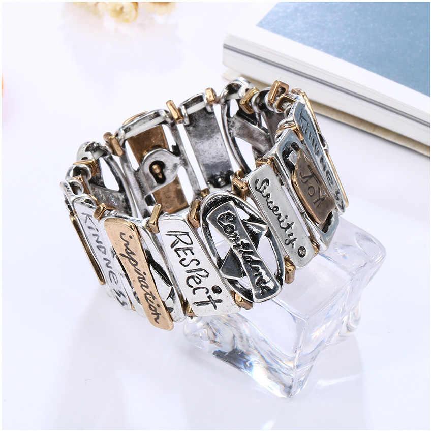 HONGYE классические трендовые браслеты в стиле стимпанк геометрические вырезание букв браслет для женщин 2019 унисекс модные ювелирные изделия браслет регулируемый