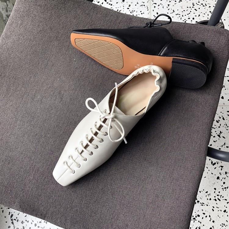 Bout Plat noir De Doux Cuir Véritable Dames Lacent En Casual Femmes Appartements Peu Mocassins Pointu Profonde Vache Beige Chaussures ZqSxUqndP6