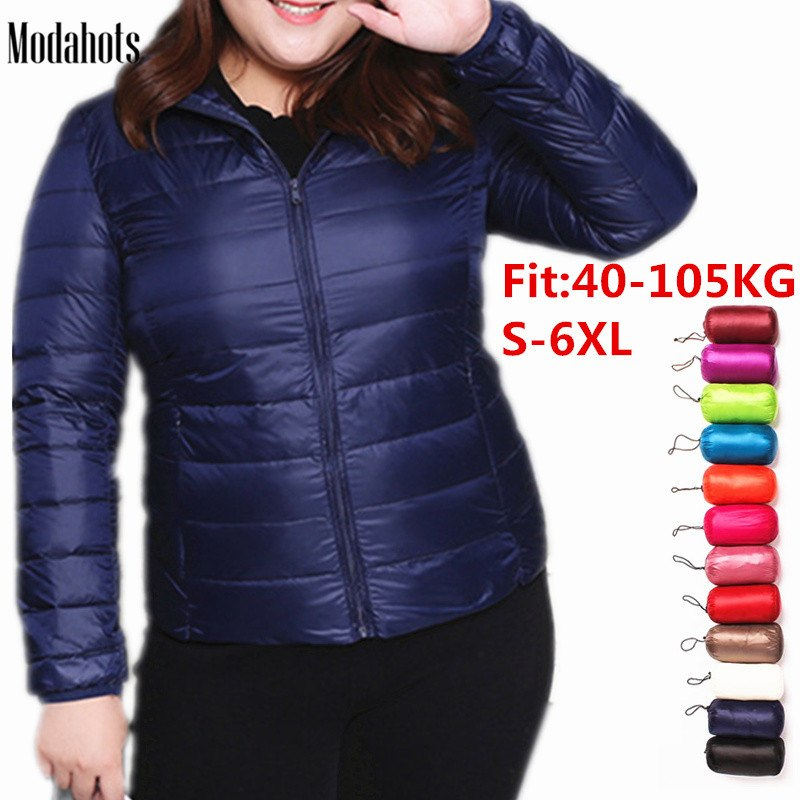 Plus Size 6XL Winter Down Jacket Women Eiderdown Outwear Winter Warm Coat Ultralight Big Sizes Large White Duck Down Coat Parka(China)