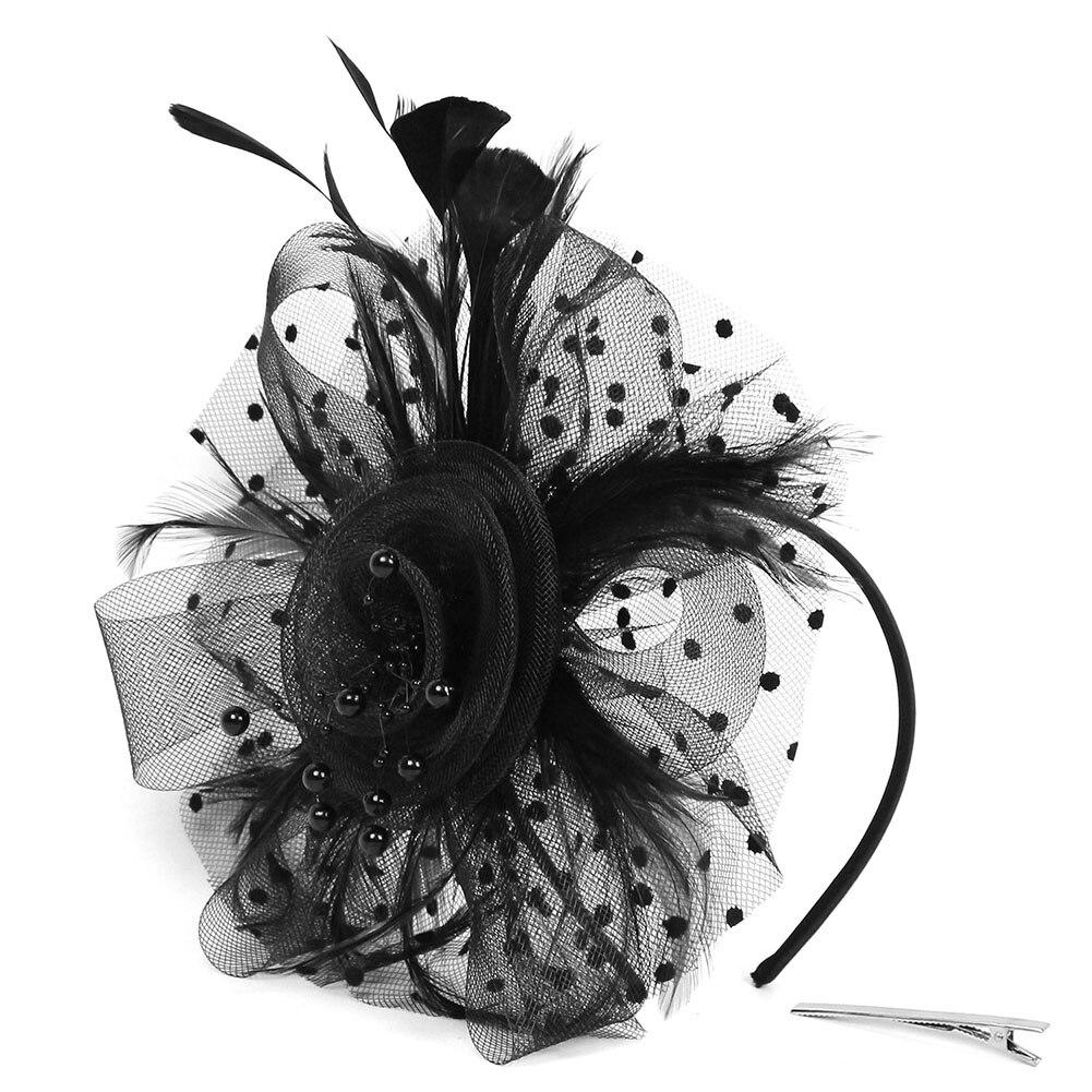 Cocktail Women Headband Hair Accessories Vintage Prom Girls Artificial Feather Bridal Mesh Flower Fascinators Wedding Headpiece