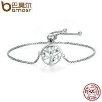 BAMOER Hot Sale Genuine 925 Sterling Silver Tree Of Life Clear CZ Chain Link Bracelet Luxury