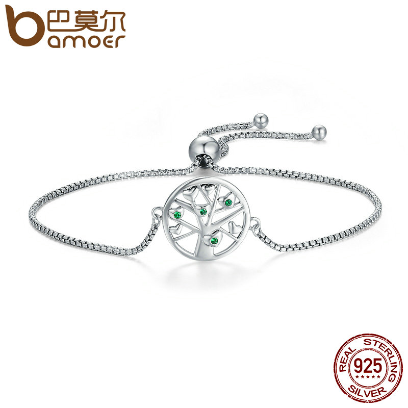 BAMOER Hot Sale Genuine 925 Sterling Silver Tree of Life, Clear CZ Chain Link Bracelet Luxury Sterling Silver Jewelry SCB010 925 sterling silver cz by the yard anklet bracelet 10