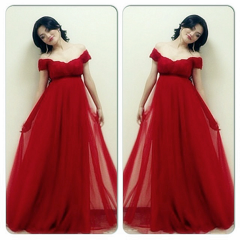 a37b539d0 Nueva llegada felicidad rojo longitud del piso vestidos de noche fuera del  hombro rojo de tulle vestidos de baile para las mujeres Embarazadas Tumblr  en ...