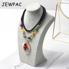 JEWPAC 25cm Fashion Grey/Black Velet Jewelry Display Stand Mannequin Model Necklace/Pendant Bust Display Jewelry Organizer недорого