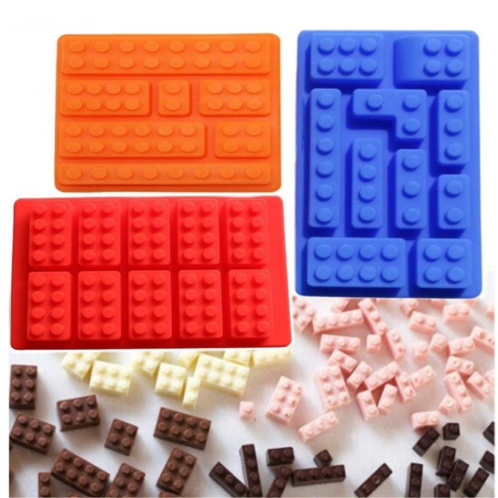 3D Lego Building Blocks Robot Silicone Molds DIY Chocolate Tray Jello Brownie Dessert Pastries Mould Cake Decoration Tools
