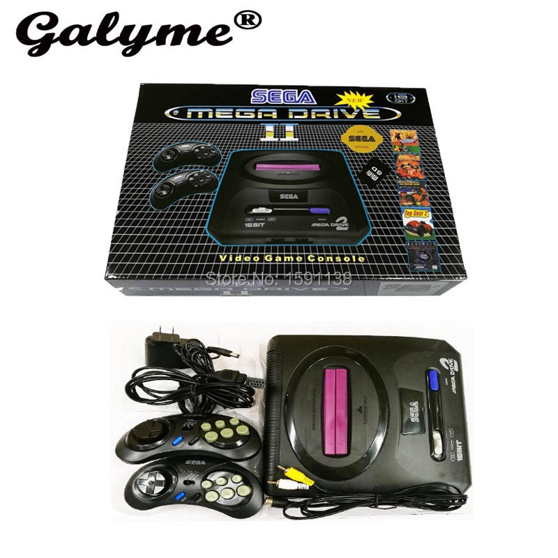 New Arrival 16 Bit Sega Mega Drive MD2 Cards Family TV Video Game Console Player Retro Video Game Console With 2 Controllers