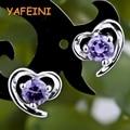 925 sterling silver jewelry crystal stud earrings angel love heart women girls party gift CHE0230-037