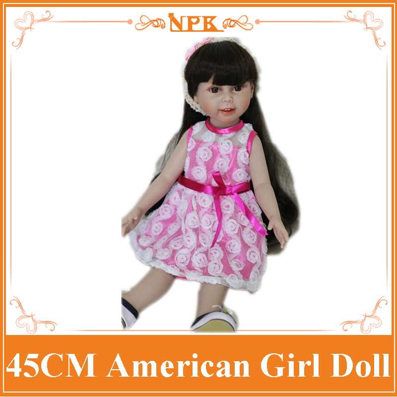 Free Shipping 2017 New Design High Quality American 18 Inch Girl Doll Full Vinyl Collectible Smiling Baby Toys With Long Hair new arrived handmade american 18 inch girl doll vinyl princess smiling girls looks so pretty baby doll toys for children