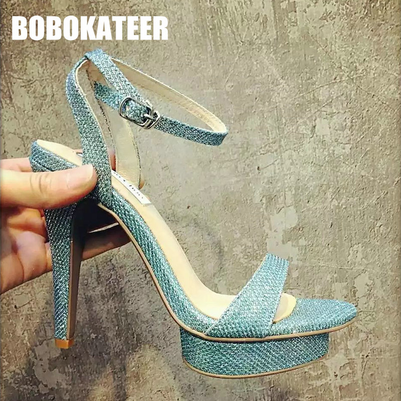 ФОТО 2017 Summer Women Sandals Sexy High Heels Leather Sandals Woman Shoes Party mules instead Ladies Platform Shoes High Quality