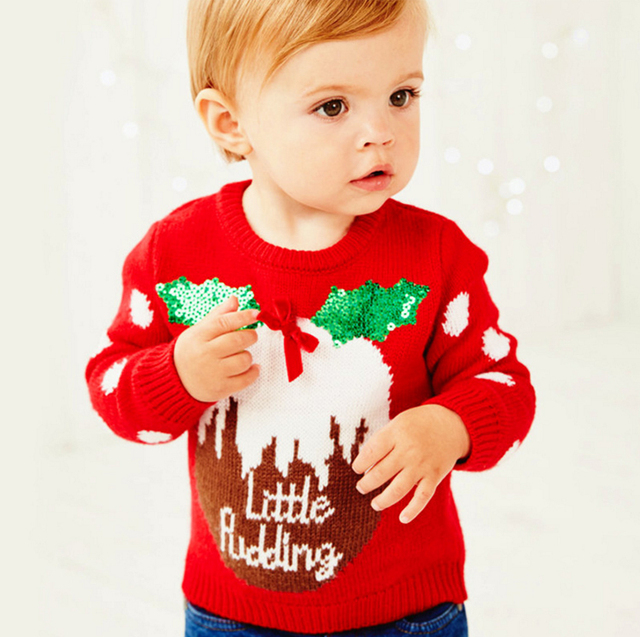 European Girls Sweaters New 2016 Christmas Cotton Girl Clothes Red Baby Costume Baby Girl Knit Sweater For Autumn Winter Coat