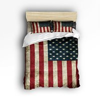 4 Piece Bed Sheets Set, American Flag Stars Print, 1 Flat Sheet 1 Duvet Cover and 2 Pillow Cases