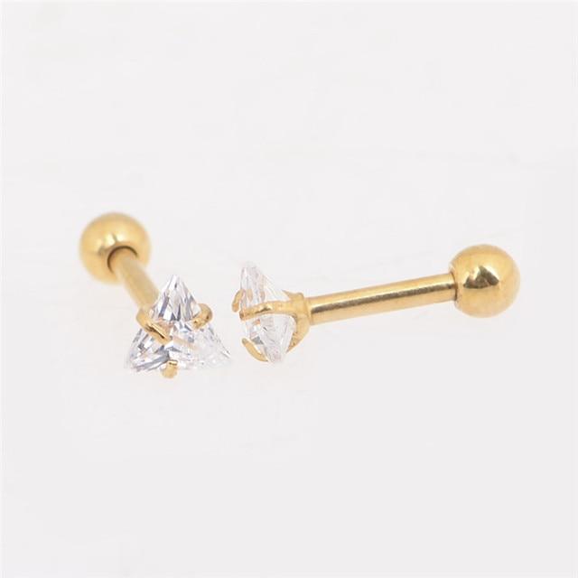 1 Paar Driehoek Cubic Zirkoonkristal Stud Oorbellen Met Doos Fashion Rvs Vrouwen Oren Piercing Sieraden