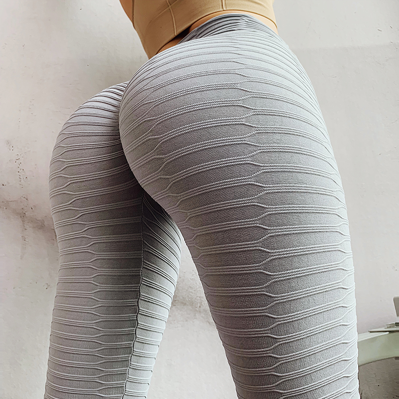 NORMOV Sexy Women Solid Color Leggings High Waist Elastic Skinny Slim Workout Bubble Leggings Casual Knitted Fitness Leggings