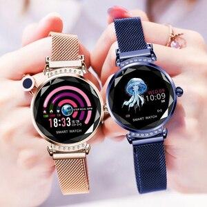 Image 2 - SCOMAS أحدث الأزياء H2 ساعة ذكية النساء 3D الماس الزجاج معدل ضربات القلب ضغط الدم النوم رصد أفضل هدية Smartwatch