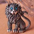 Muito legal Leão Broche Muy Bonita Antique Banhado A Prata Broches Bijuterias Acessórios de Moda Do Punk das Mulheres do vintage Animal Broche