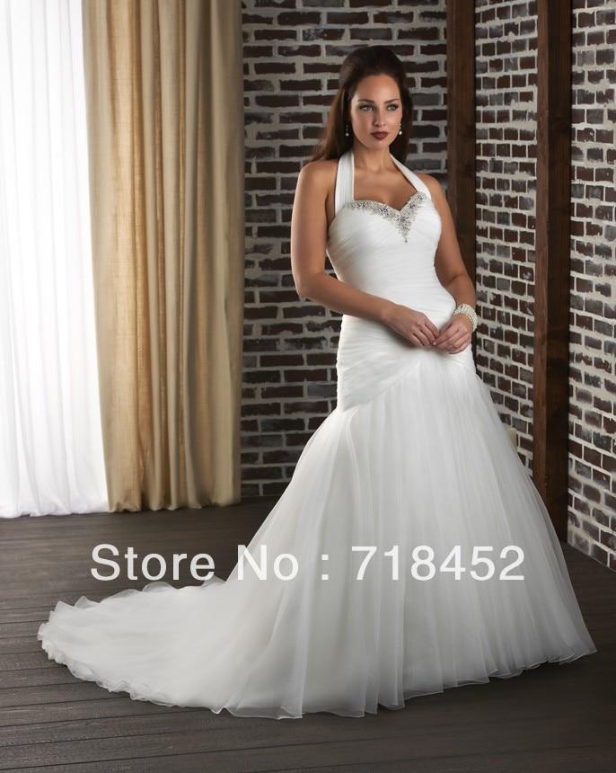 Aliexpress.com : Buy Plus Size Wedding Dress Halter Mermaid ...