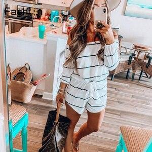 واسعة الساق مربوط مخطط رومبير النساء طويلة الأكمام السروال القصير ل بلوزات غير مغطية للكتف Playsuit الصيف بذلة Preppy عارضة ارتداءها