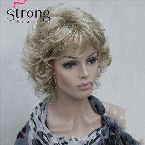 Image 4 - StrongBeauty Korte Zachte Shaggy Gelaagde Blonde Mix Full Synthetische Pruik Krullend vrouwen Pruiken