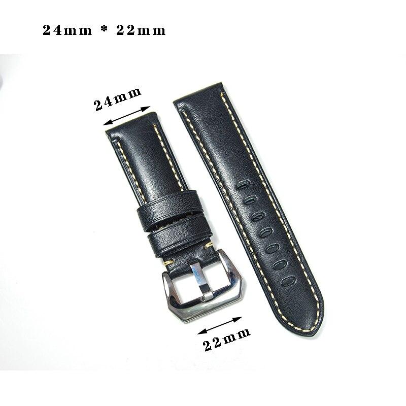 24mm  Black Vintage  Calfskin Leather High Qualty Genuine Leather Watchband Watch Strap   24mm  Black Vintage  Calfskin Leather High Qualty Genuine Leather Watchband Watch Strap