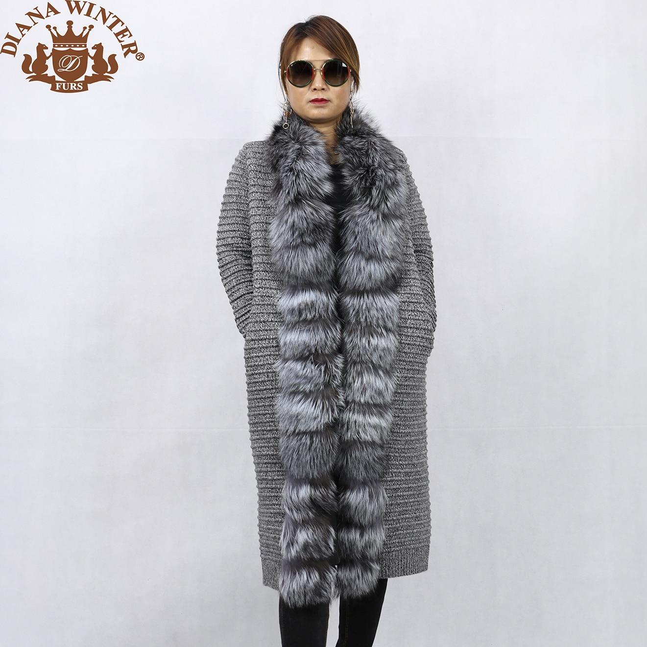 Commuter Sweater DIANA Fashion Jacket Coat Women's Trend To Wool Fur Grass Fox-Fur Keep-Warm