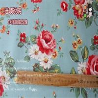 Vintage Rose Sofa Curtain Antependium Floral Cotton Canvas Fabric