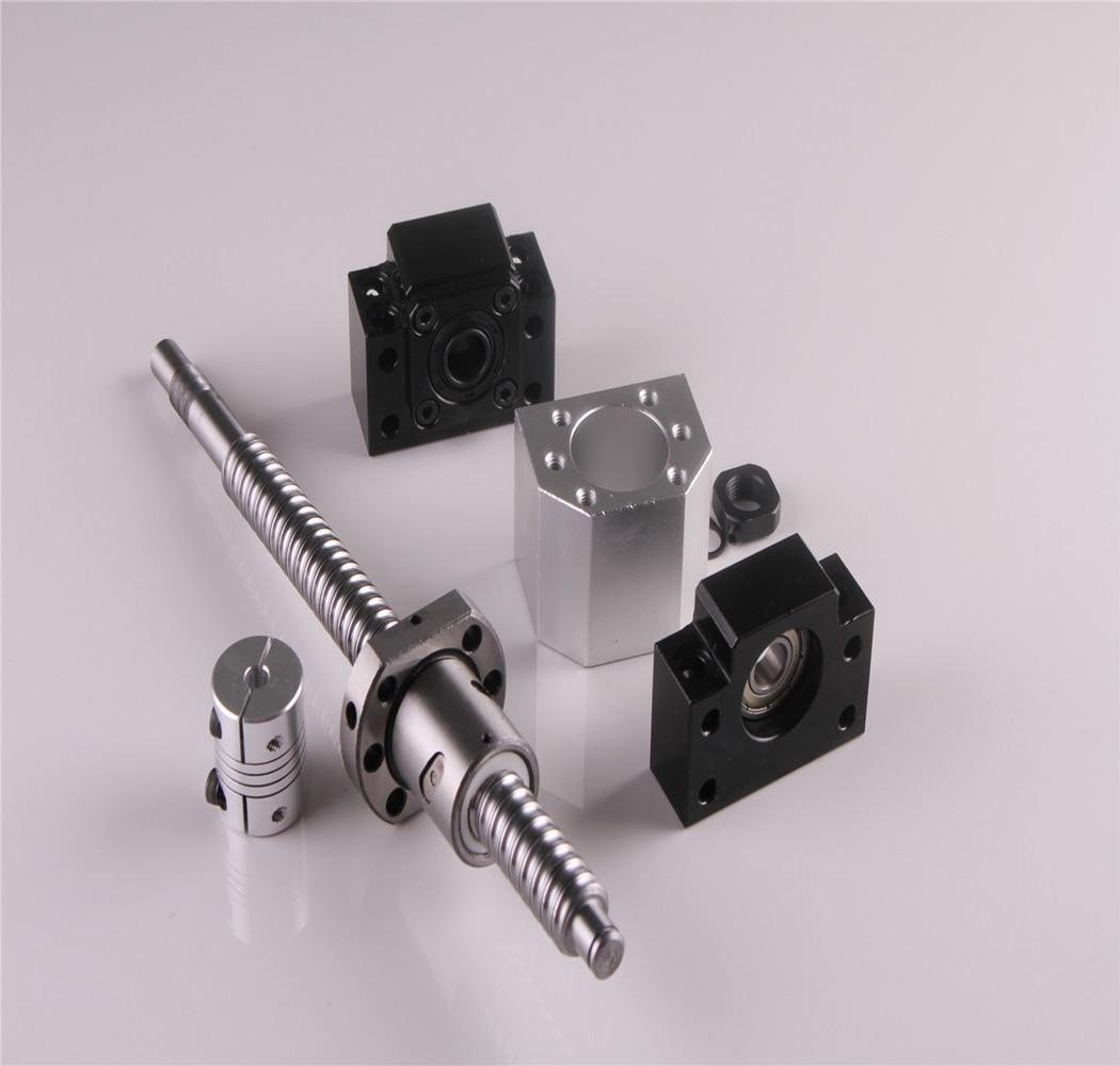 CNC Ball Screw SFU1605 550mm Rolled C7 Ballscrew End Machine with Ballnut Housing + Coupler & BK/BF12 End Support sfu1605 550mm ballscrew with end machined c7 bk bf12 support 1pcs 6 35 10mm coupler