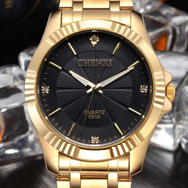 Prix pour D'origine chenxi montre en or hommes top marque de luxe célèbre d'or horloge homme montre-bracelet bracelet à quartz montres homme relogio masculino
