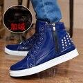Новая Мода Высокий Верх Повседневная Обувь Заклепки Для Мужчин ПУ кожа Узелок Мужские Повседневная Обувь Мужчин Высокого Верха Обуви розничная
