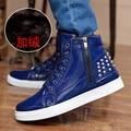 Nueva Moda de Alta Superior Zapatos Casuales Remaches De Los Hombres de LA PU Leather Lace Up Para Hombre Casual Zapatos de Los Hombres Altos Zapatos Superiores venta al por menor