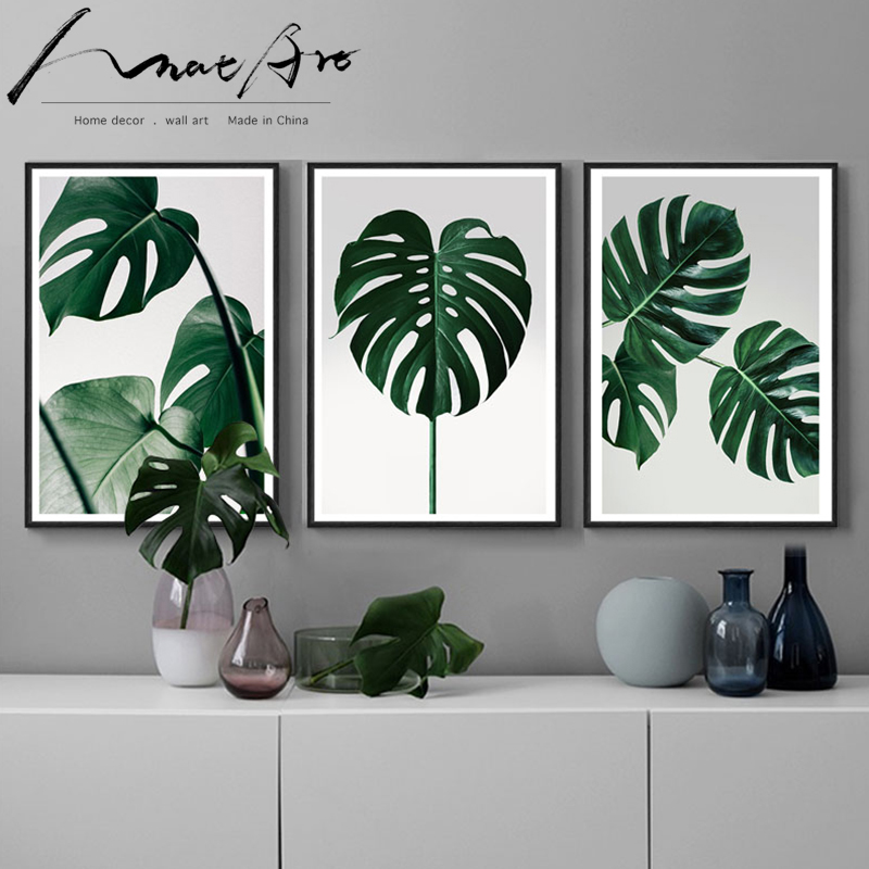 Affiche de peinture nordique Monstera   Affiche murale en toile avec impression de plantes vertes, décor de maison moderne, 3 pièces pour salon, Original