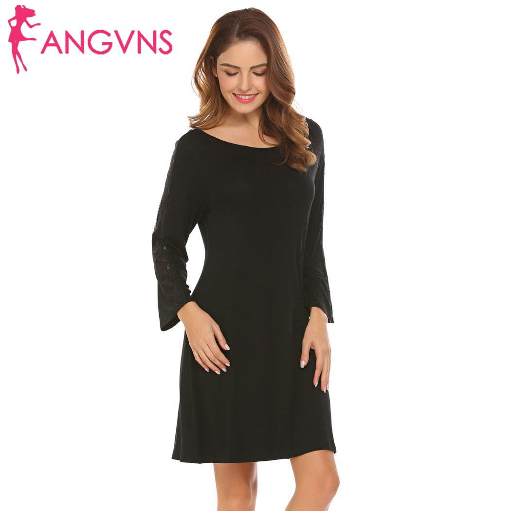 ANGVNS Women Round Neck Patchwork Fashion women love cute Sleeve Nightgown Dress Sleepshirt Lounge Lace 3/4