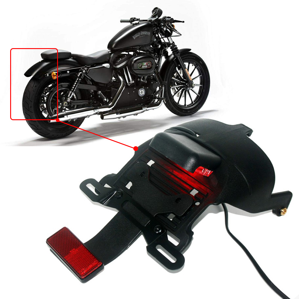 For Harley Sportster XL 883 1200 48 2004-2014 Black Motorcycle Rear Fender Mount License Plate LED Light Lamp Red Lens цены