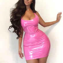 2019 Sexy Leather Dress Pink Women Shinny Faux Mini Girls Club Short Party PU Sundress Bodycon