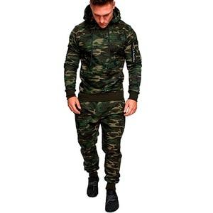 Image 2 - Камуфляжный спортивный костюм для спортзала и бега, мужская спортивная одежда с капюшоном, мужской костюм для бега на осень и зиму, мужской спортивный костюм из 2 предметов, теплый спортивный костюм для бега