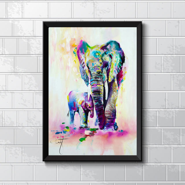 Watercolor Canvas Painting HD Printed On Canvas Art Animal Elephant Son  Wall Pictures For Living Room